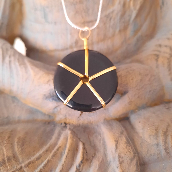 Black Tourmaline Wheel of Protection Necklace