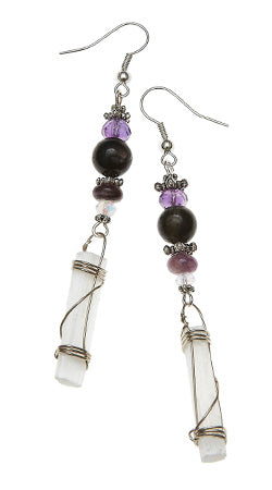 Violet Flame Earrings with Selenite Wraps