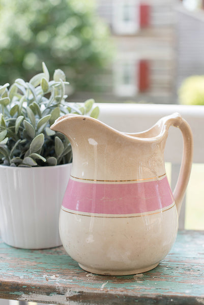 Striped Ironstone Pitcher