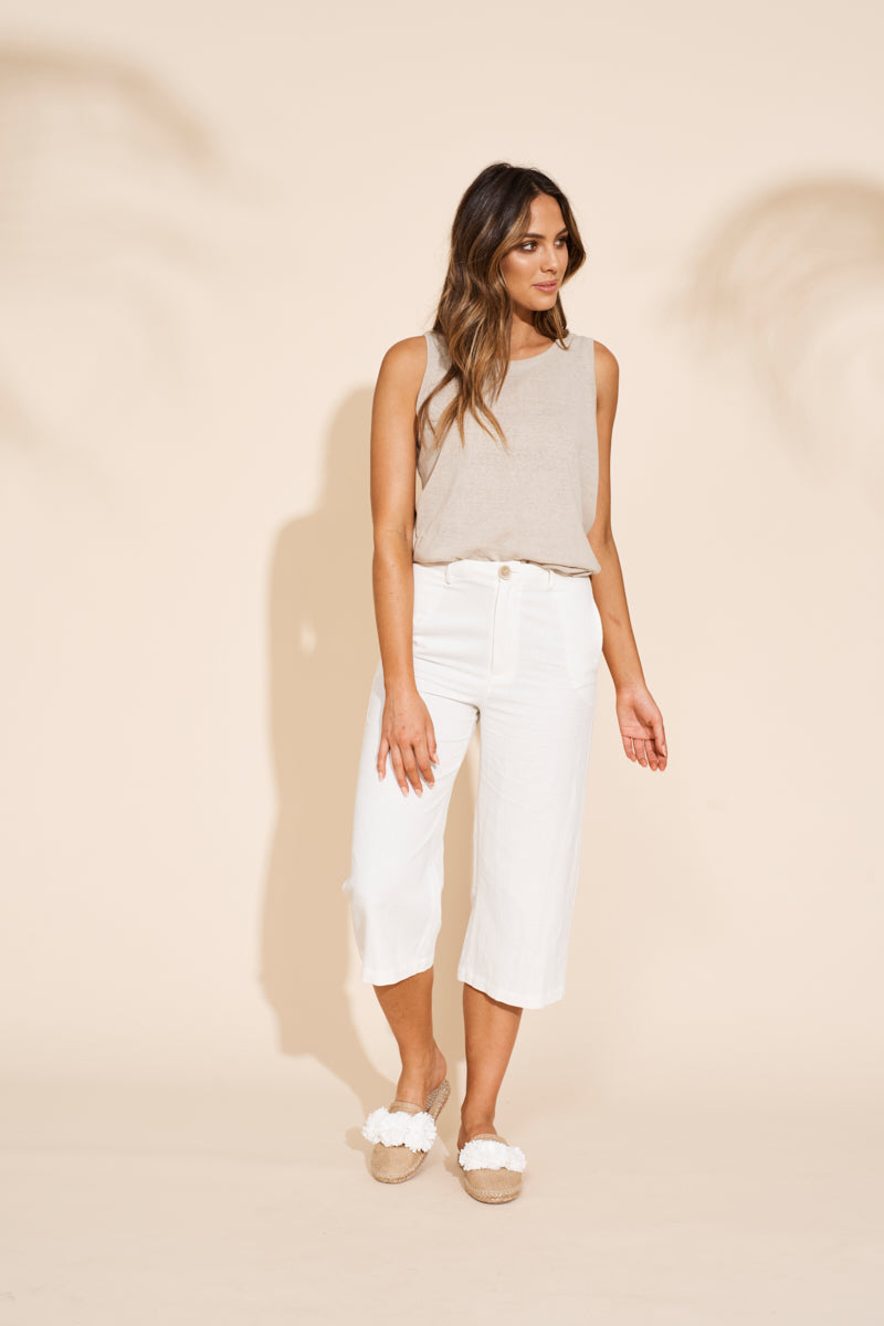 Kalahari Crop Pant - Salt - Shop Online At Mookah - mookah.com.au