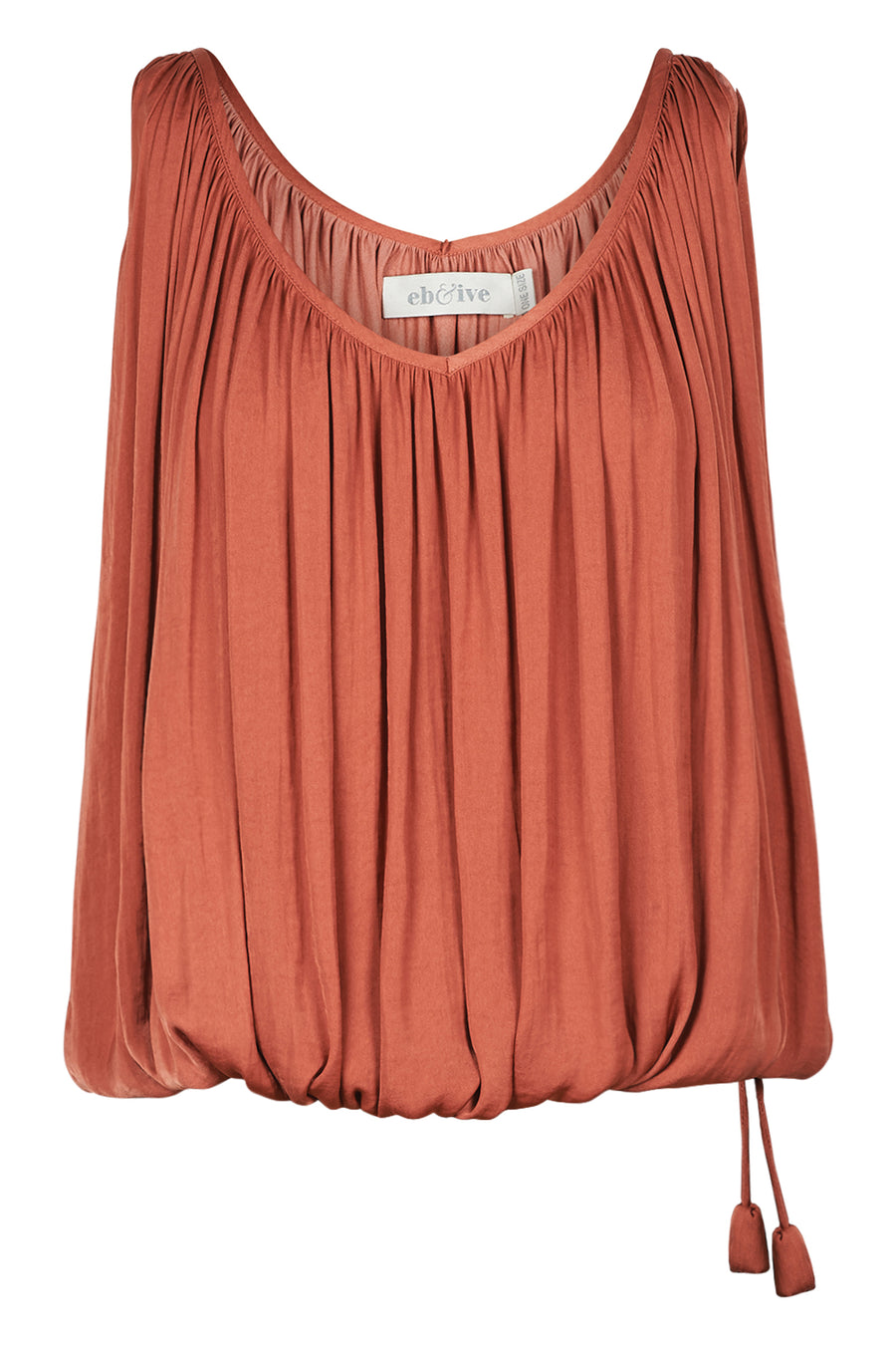 Zena Drawstring Top - Clay