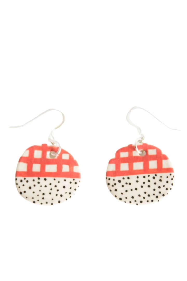Drop Earrings - Halfy Round Red