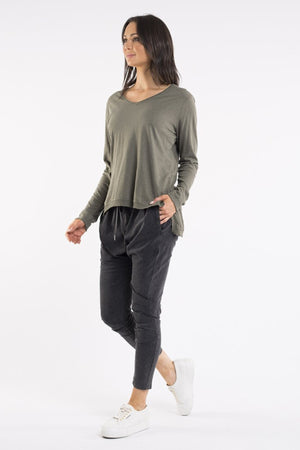 Highline Vee Neck Top - Khaki - Mookah