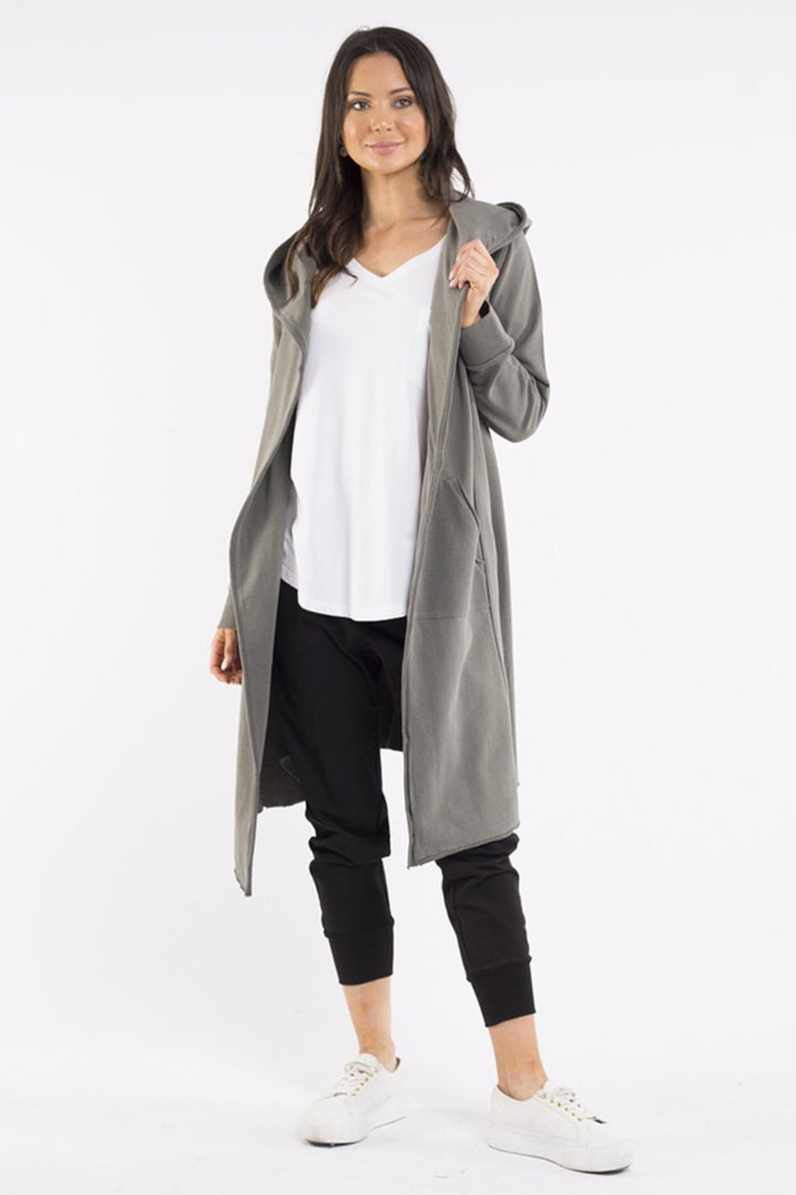 Naomi Hooded Cardigan - Khaki - Shop Online At Mookah - mookah.com.au