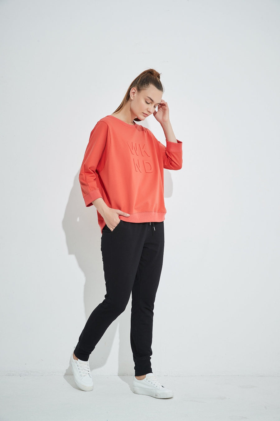 3/4 Sleeve Embossed Top - Crimson