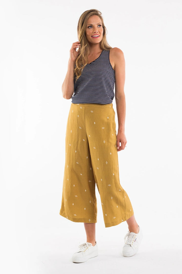 Matilda Wide Leg Pant - Dried Mustard - Shop Online At Mookah - mookah.com.au