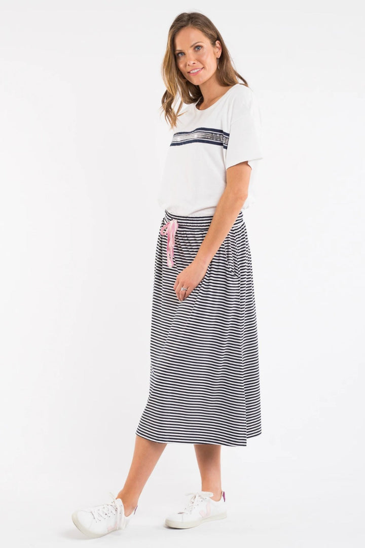 Le Stripe Skirt - Navy/White