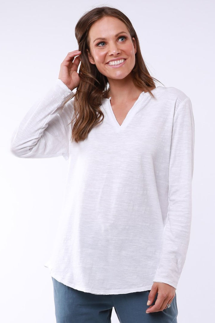 Coles Bay L/S Henlley - White - Shop Online At Mookah - mookah.com.au