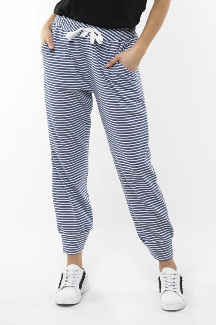 Wynter Stripe Pant - Indigo/White - Shop Online At Mookah - mookah.com.au