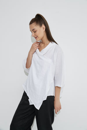 Cowl Neck Top - White
