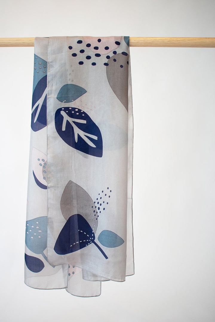 Abstract Floral Scarf - grey/lagoon/indigo - Shop Online At Mookah - mookah.com.au