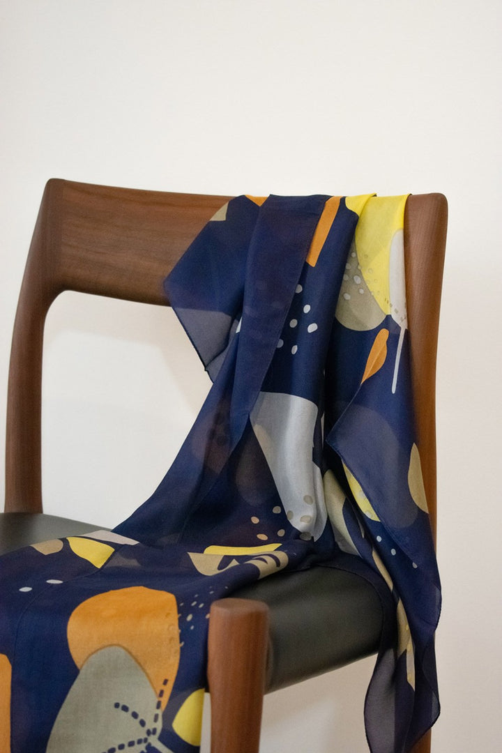 Abstract Floral Scarf - indigo/caramel/sand - Shop Online At Mookah - mookah.com.au