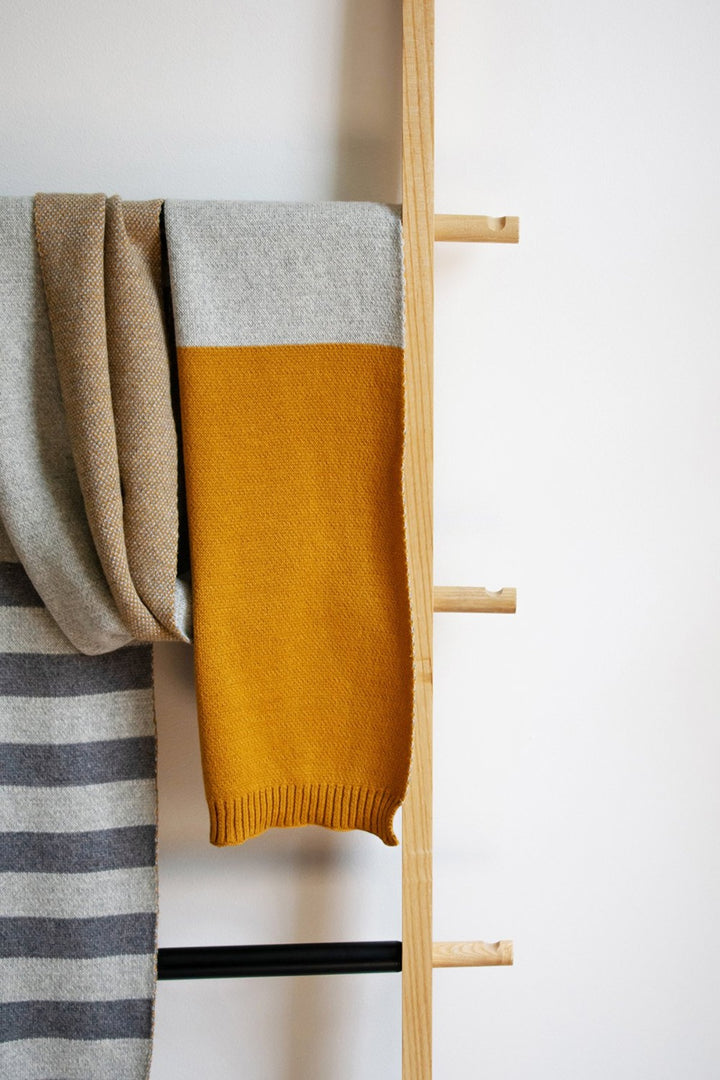 Block Stripe Scarf - mustard/flint/grey - Shop Online At Mookah - mookah.com.au