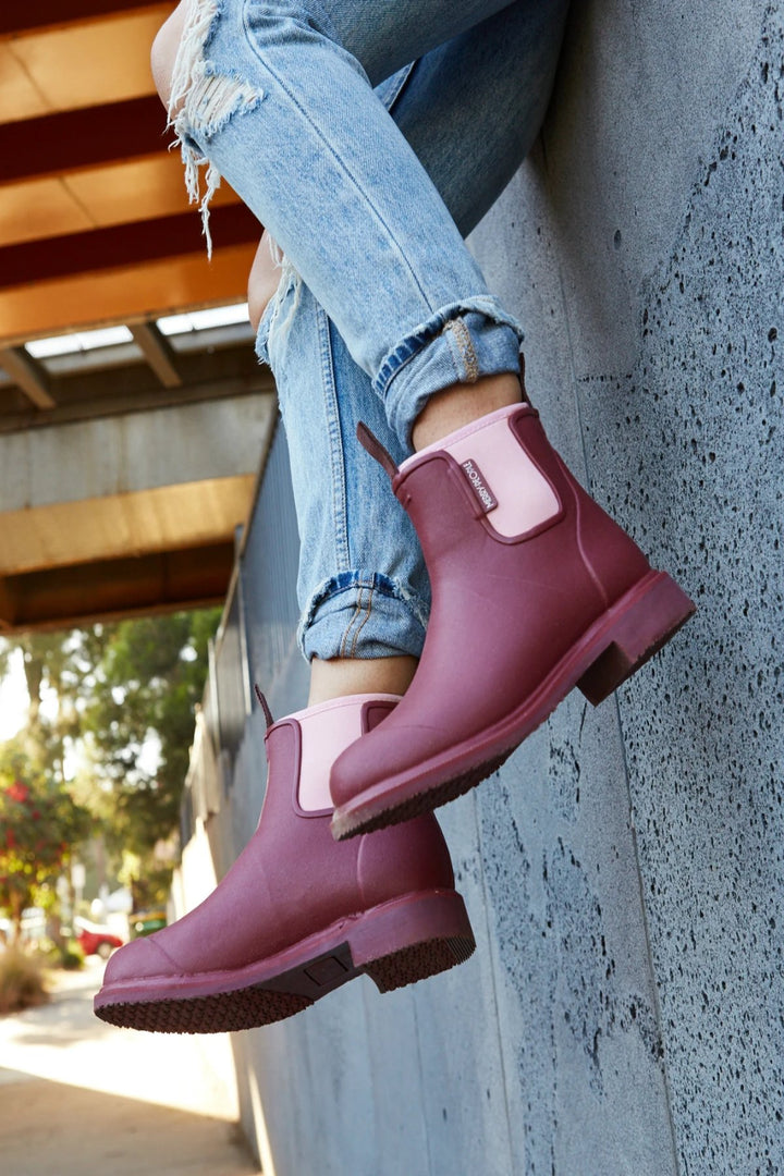 Bobbi Gumboot - Beetroot & Light Pink - Shop Online At Mookah - mookah.com.au