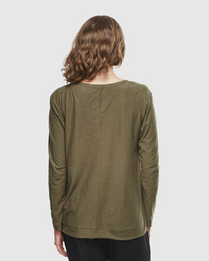 Slub L/S Top - Olive - Shop Online At Mookah - mookah.com.au