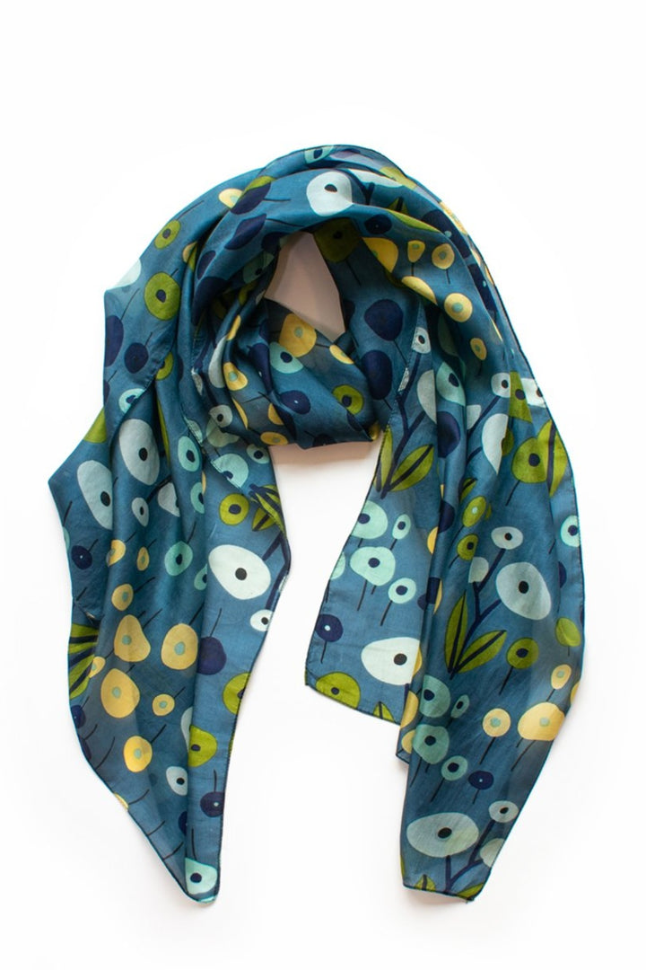 Field of Flowers Scarf- lagoon/indigo/olive - Shop Online At Mookah - mookah.com.au