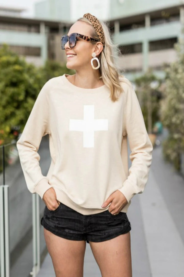 Sweater White Cross - Almond