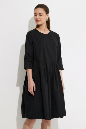 Pleat Skirt Dress - Black