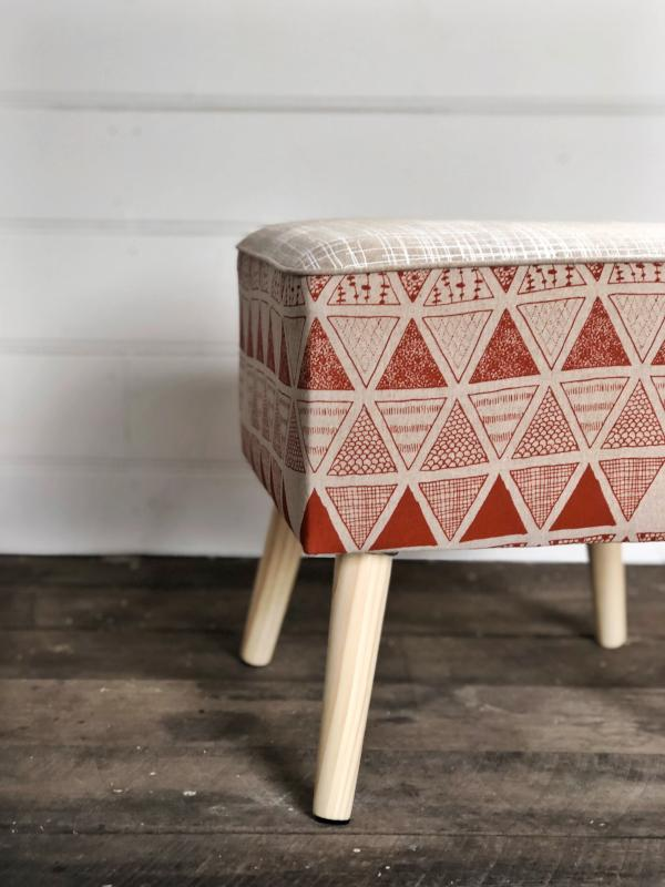 Linen Footstool - Triangulation in Ginger and Crosshatch in White by Mookah Shop Online mookah.com.au