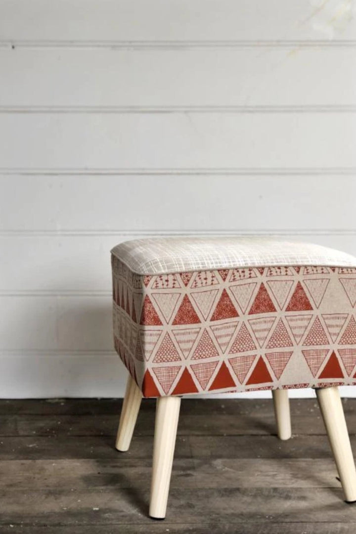 Linen Footstool - Triangulation in Ginger and Crosshatch in White - Shop Online At Mookah - mookah.com.au
