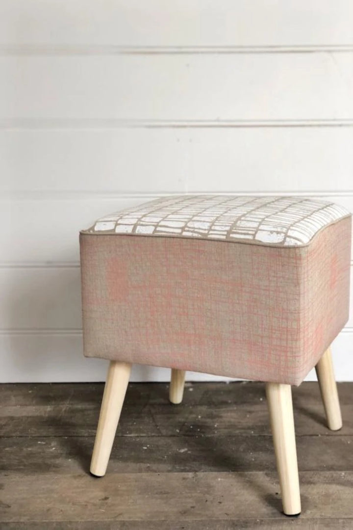 Linen Footstool - Crosshatch in Smokey Heather and Lino in White - Shop Online At Mookah - mookah.com.au