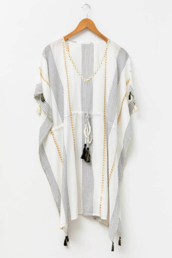 Caftan - Corfu White/Gold - Shop Online At Mookah - mookah.com.au