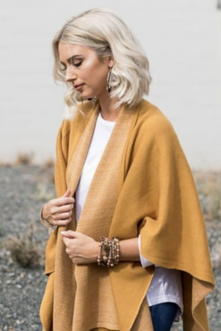 Jane Cape Wrap - Mustard
