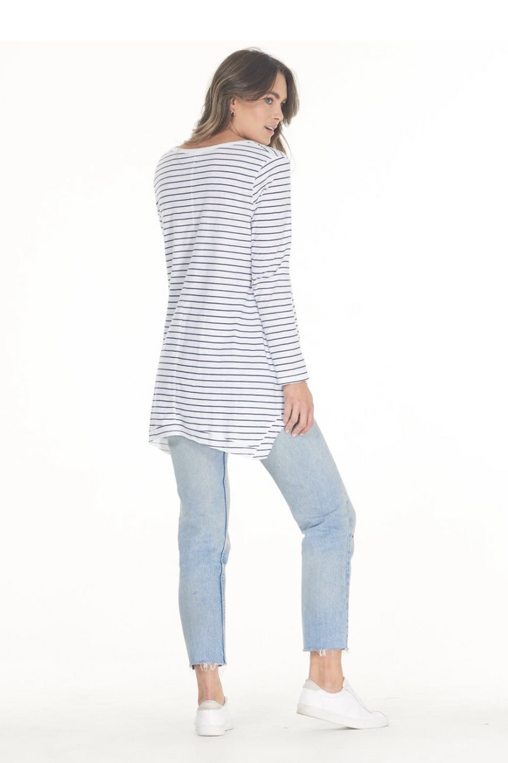 Esther L/S Tee - Navy Stripe