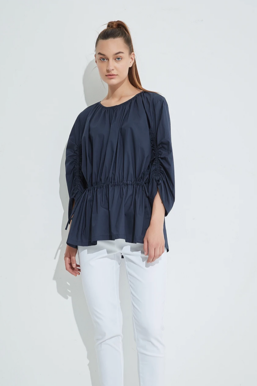 Tie Detail Top - Navy