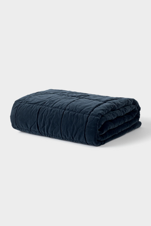 Washed Velvet Quilted Throw - Midnight