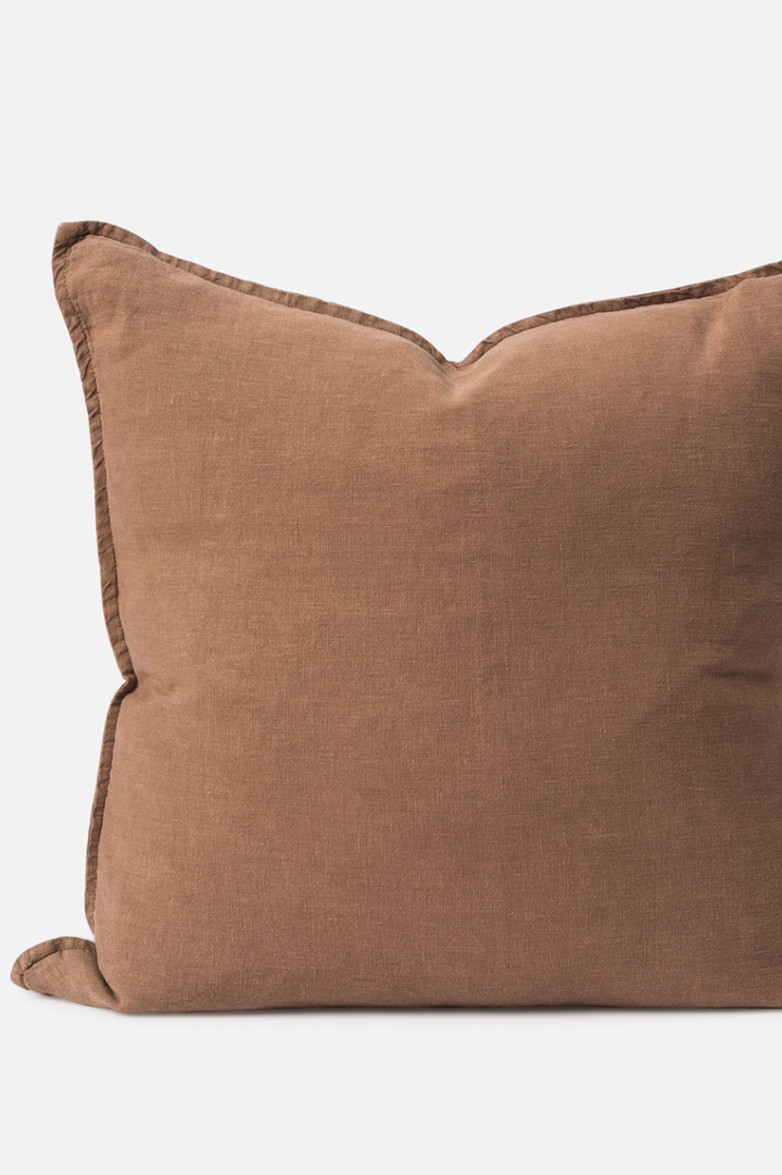Washed Linen Cushion - Tobacco