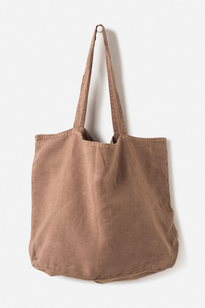 Washed Linen Bag - Tobacco