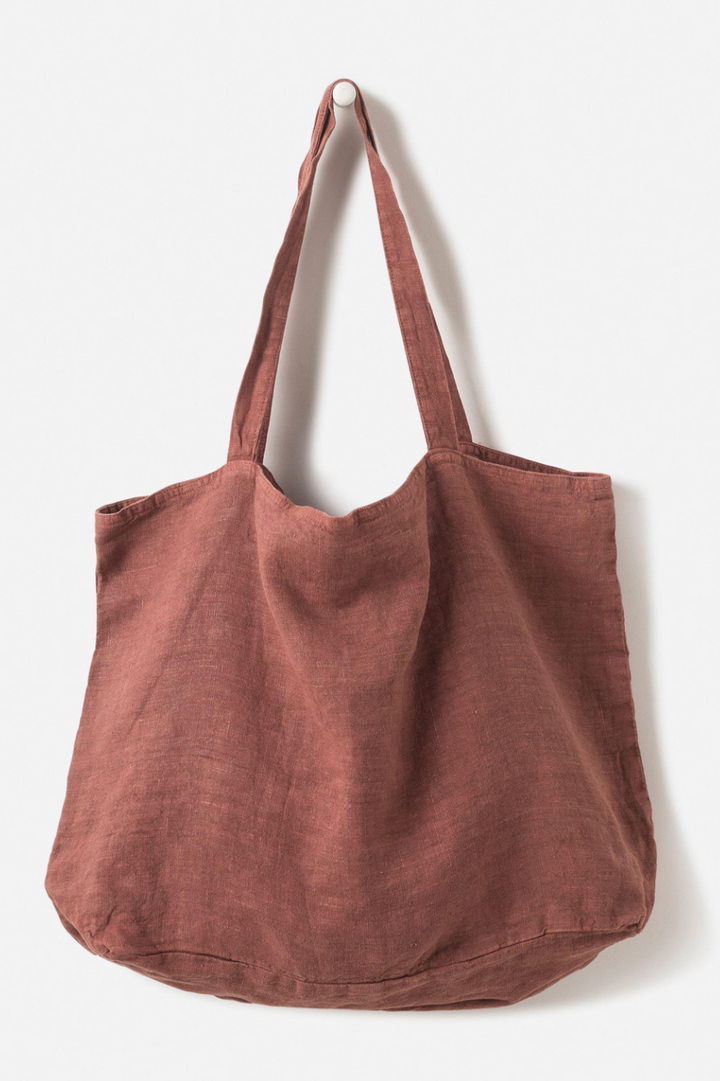 Washed Linen Bag - Plum