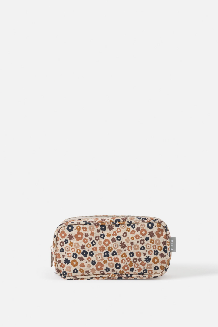 Daisy Cosmetic Purse - Pecan/Multi