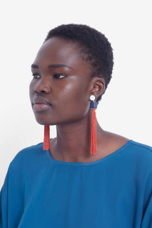 Mai Earring - Clay/Navy/Cream