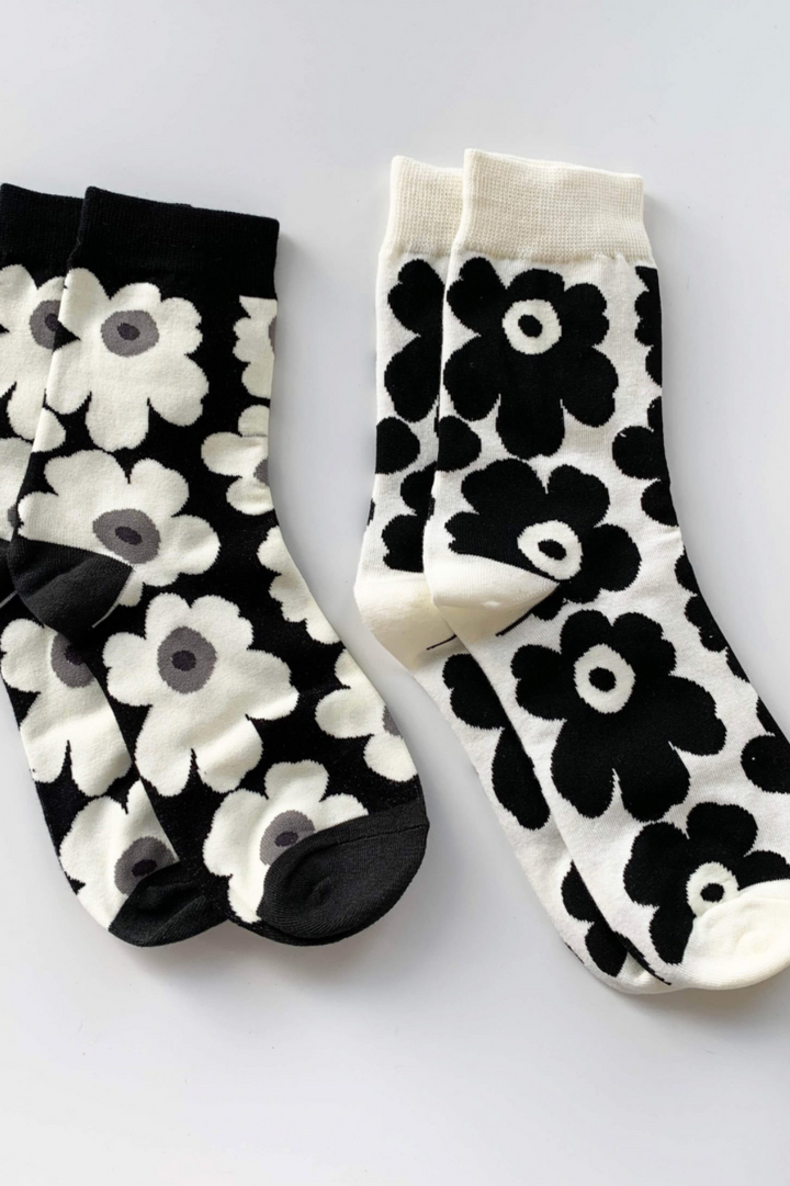 Sock Set of 2 - Black/White Bloom