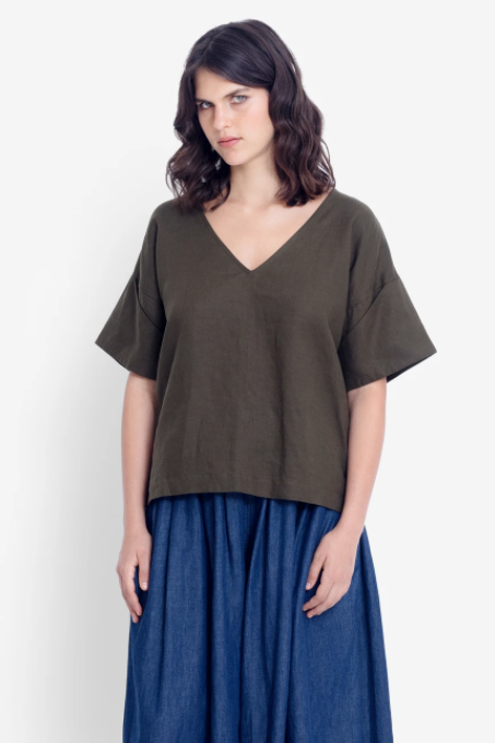Hallvi Top - Dusty Olive
