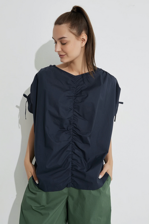 Drawcord Sleeve Top - Navy
