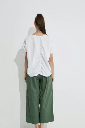 Drawcord Sleeve Top - White