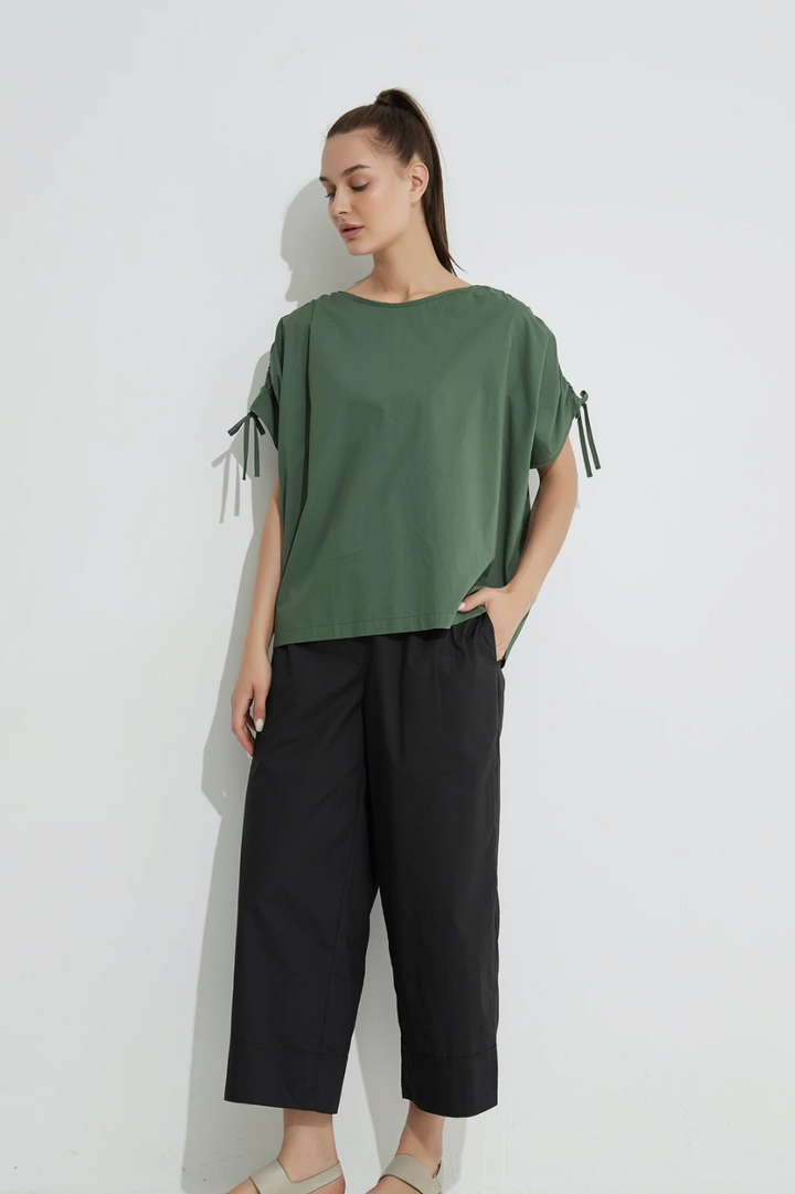 Drawcord Sleeve Top - Moss