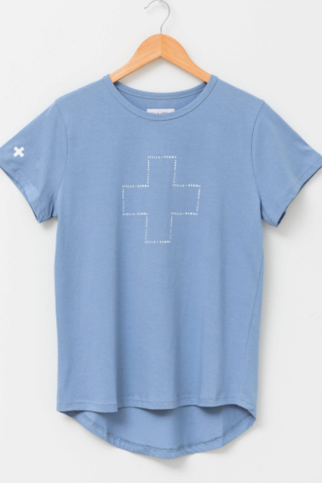 T-Shirt Denim - White Logo Cross