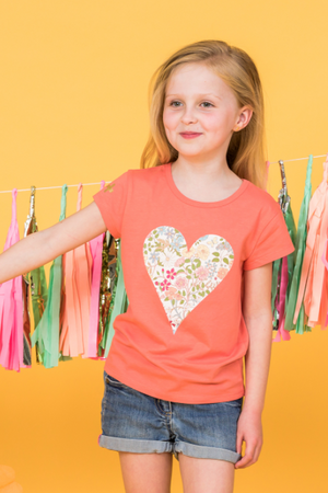 Kids Tee - Coral Floral Heart