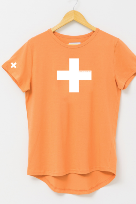 T-Shirt Papaya - White Cross