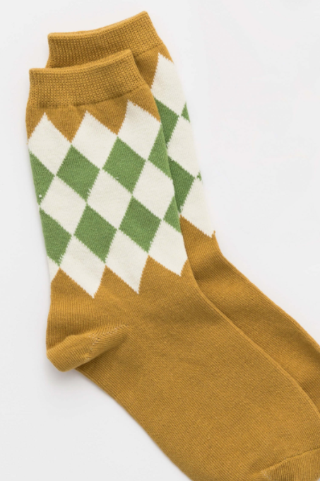 Diamond Socks - Mustard