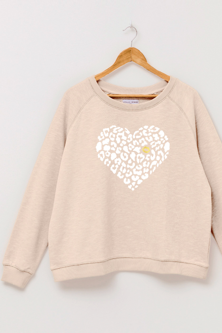 Sweater - Almond/White Leopard Heart