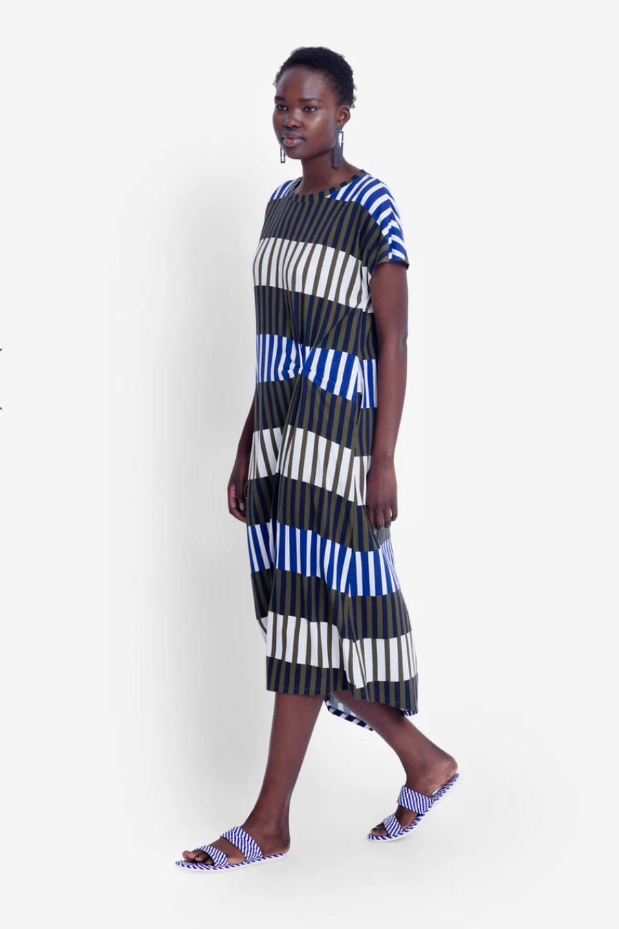 Valby Dress - Olive Stripe