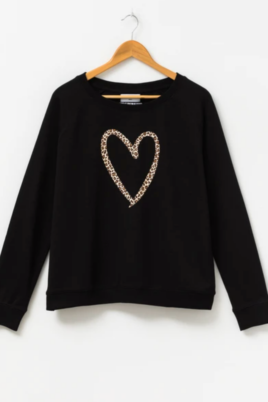 Sweater - Black/Leopard Heart