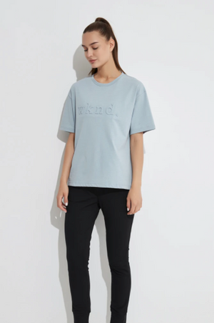 Embossed Boxy Crew - Sky Blue