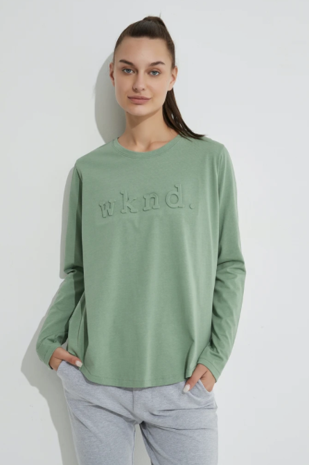 Raised Text L/S Tee - Soft Jade