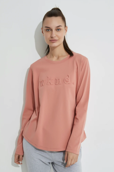 Raised Text L/S Tee - Vintage Rose